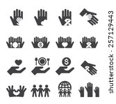 charity icons set | Shutterstock .eps vector #257129443