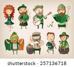 set of people and characters... | Shutterstock .eps vector #257136718