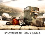 lake landscape and big backpack ... | Shutterstock . vector #257142316