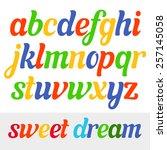 fun vector italic font for kids | Shutterstock .eps vector #257145058