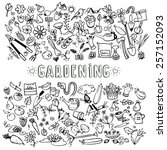 hand drawn doodle garden icons  ... | Shutterstock .eps vector #257152093