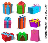 present boxes collection.... | Shutterstock .eps vector #257159329