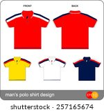 set of templates  polo shirts... | Shutterstock .eps vector #257165674