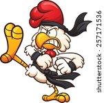 Karate Chicken Throwing A Kick. ...