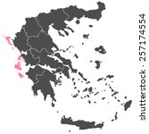 map of greece purple | Shutterstock .eps vector #257174554