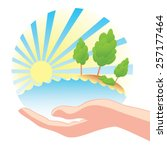 save nature. concept. hand of...   Shutterstock .eps vector #257177464