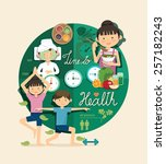 boy and girl time to health and ... | Shutterstock .eps vector #257182243