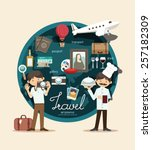 boy travel plan on vacation... | Shutterstock .eps vector #257182309
