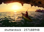 young lady paddling the kayak... | Shutterstock . vector #257188948