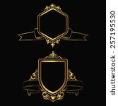 set of design gold elements and ... | Shutterstock .eps vector #257195530