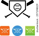 home plate icon with baseball... | Shutterstock .eps vector #257198029