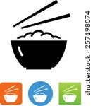 bowl of rice with chopsticks...   Shutterstock .eps vector #257198074