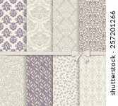 Stock vector collection of seamless damask pattern in violet and grey 257201266