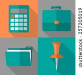 flat icon set with long shadow... | Shutterstock .eps vector #257205019