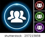 group of people on glow round... | Shutterstock .eps vector #257215858