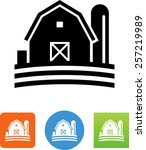 barn with silo icon | Shutterstock .eps vector #257219989