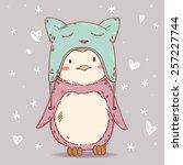 Stock vector cute cartoon penguin in winter funny cat hat vector illustration 257227744