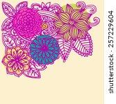 vector doodle flowers. spring...   Shutterstock .eps vector #257229604