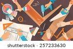 team of workers using diy tools ...   Shutterstock .eps vector #257233630
