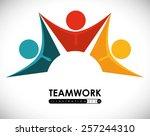 teamwork design over white... | Shutterstock .eps vector #257244310
