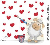 Cute Sheep With Brush Is...