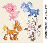 vector animals cartoon... | Shutterstock .eps vector #257268199