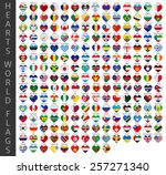 hearts world flags | Shutterstock .eps vector #257271340