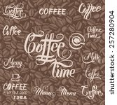 coffee beans vector seamless.... | Shutterstock .eps vector #257280904