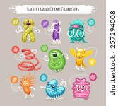 bacteria and germs characters... | Shutterstock .eps vector #257294008