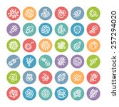 set of flat round icons with... | Shutterstock .eps vector #257294020