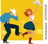 cowboy and cowgirl dancing... | Shutterstock .eps vector #257295310