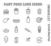 fast food line icons  mono... | Shutterstock .eps vector #257309080