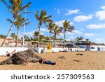 puerto del carmen beach ... | Shutterstock . vector #257309563