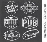 set of vintage cafe  pub wine...   Shutterstock .eps vector #257334010