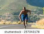 athletic  sporty  muscular ...   Shutterstock . vector #257343178