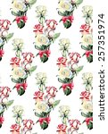 seamless pattern from roses....   Shutterstock . vector #257351974
