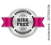 silver risk free badge with... | Shutterstock .eps vector #257353156