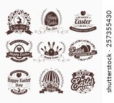 set of happy easter day vintage ... | Shutterstock .eps vector #257355430