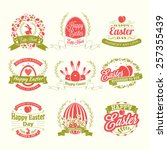 set of happy easter day vintage ... | Shutterstock .eps vector #257355439