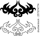 tribal art tattoo outlined... | Shutterstock .eps vector #257374774