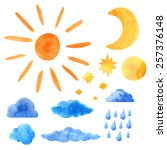 watercolor icons set sun ... | Shutterstock .eps vector #257376148