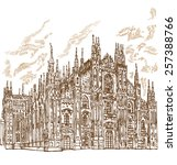 milan cathedral hand draw  | Shutterstock .eps vector #257388766