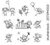 hand drawing cartoon happy kids ... | Shutterstock .eps vector #257394310