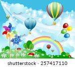 Spring Background With Balloon...