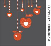 red apples with hearts inside | Shutterstock .eps vector #257421454