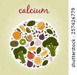 calcium   fruits and vegetables ... | Shutterstock .eps vector #257426779