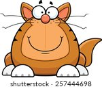 Cartoon illustration of a funny cat with a happy expression.  - stock vector