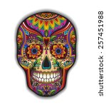 print mexican traditional skull ... | Shutterstock .eps vector #257451988