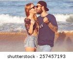 young couple in love walking in ... | Shutterstock . vector #257457193