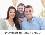 portrait of happy parents with... | Shutterstock . vector #257467570